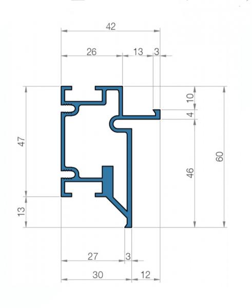 Профиль алюминиевый для коробок под скрытый монтаж в размере 60*42 мм