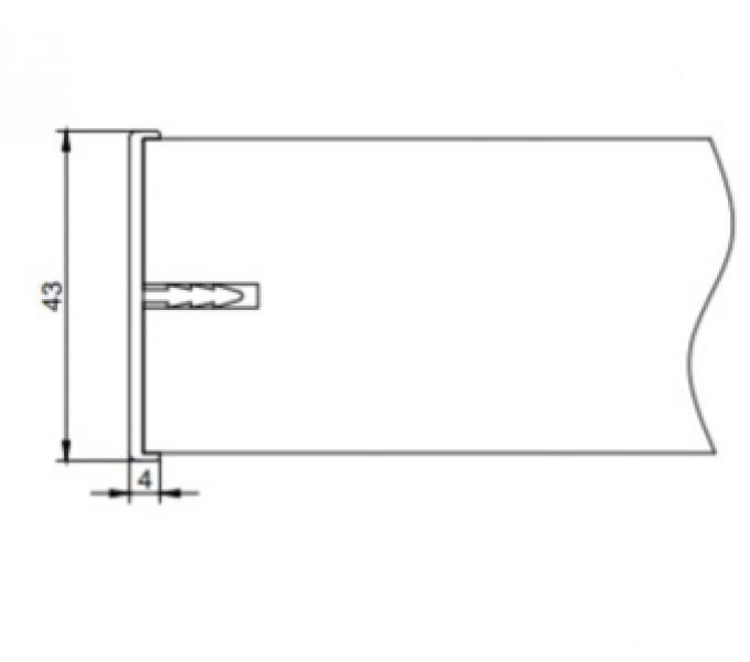 Алюминиевая кромка для полотна скрытого монтажа размером 43*4 мм
