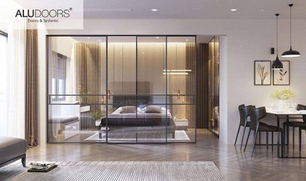 Двери раздвижные AluDoors Fly из алюминия и стекла