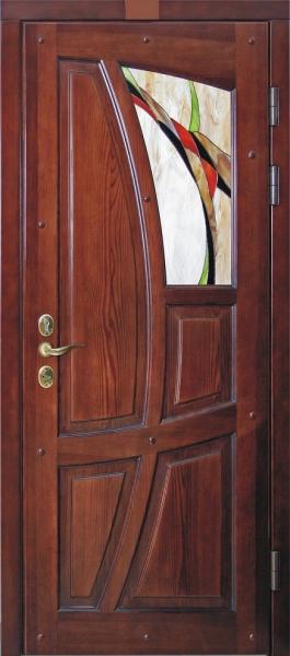 Двери входные Сосна витраж