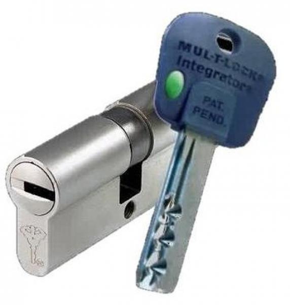 Цилиндр Mul-T-Lock Integrator корпус матовый никель 27*27