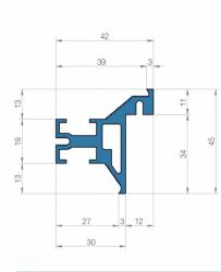 Фото Производитель ДИМИР (DIMIR) Алюминиевый профиль для коробок дверей скрытого монтажа в размере 45*42 мм