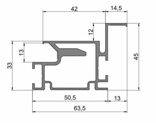Фото  ДИМИР (DIMIR) Алюминиевый профиль для коробок дверей скрытого монтажа размером 63,5*45 мм
