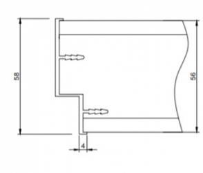Фото  ДИМИР (DIMIR) Алюминиевая кромка для дверей скрытого монтажа размером 58*4 мм