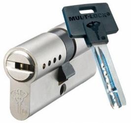 Фото  Mul-T-Lock (Мультилок) Цилиндр Mul-T-Lock Classic Pro корпус матовый никель 27*27