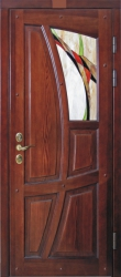 Фото  ДИМИР Входная дверь Сосна витраж
