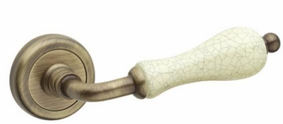 Фото  FIMET (Италия) Дверная ручка Doll 231 бронзовая латунь/состаренная керамика