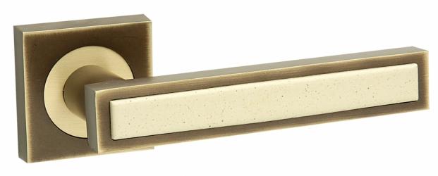 Фото  FIMET (Италия) Дверная ручка Square 211 матовая бронза/бежевая керамика