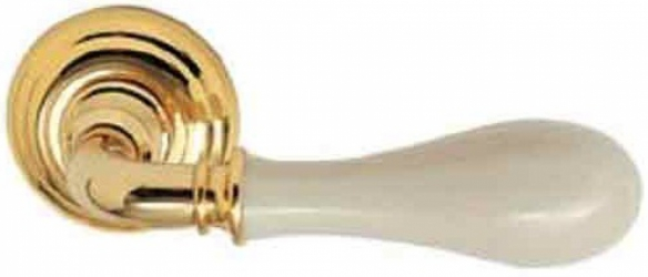 Фото Производитель Ручки MANDELLI (Италия) Ручка дверная Doge полированное золото/слоновая кость